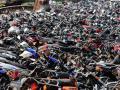 报废摩托车销毁,场面过于壮观